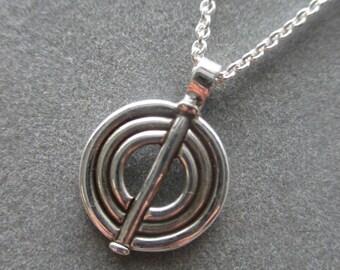 Sterling Silver Geometric Circle Pendant