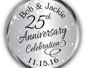 25th Anniversary Stickers • Personalized Anniversary Labels • Silver Sparkly Anniversary Sticker