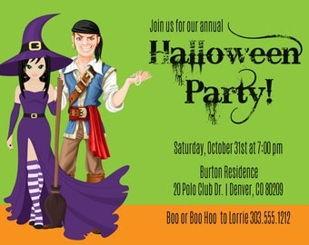 Couples Adult Halloween Party Invitations - You Print Halloween Invitation