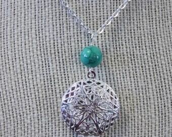 Silver and Bead Drop Diffuser locket necklace