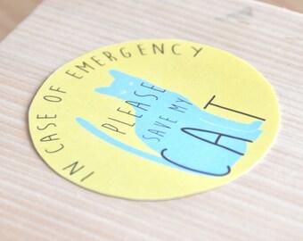Cat Emergency Sticker