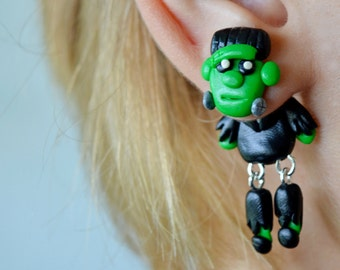 Frankenstein plugs Halloween jewelry Gauges plugs Holiday ear plugs Monster gauge 16g 12g 10g 8g 6g 4g 2g 0g 00g 1/2 9/16 5/8 11/16 13/16