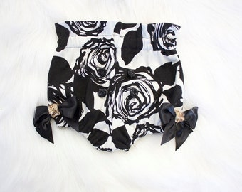 Black and White Rose Bloomers