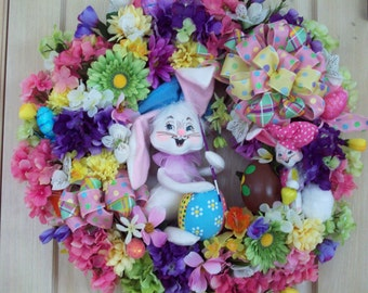 Easter Wreath, Spring Wreath, Annalee Bunny Wreath, XXL Wreath, Door Decor, Wall Wreath