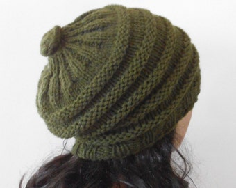 Green Olive Wool Hat. Slouchy Hat. Chunky Woman Hat. Hand Knit Hat.