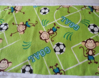 Burp Cloth with Monkeys on green back ground