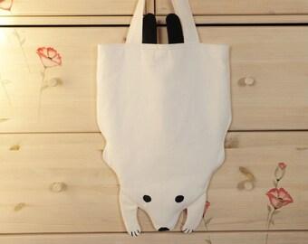 Bear tote bag Animal tote bag Polar bear tote bag Bear shape tote bag Kids tote bag Childrens tote bag Scandinavian Fabric