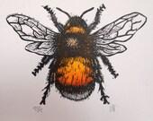 Bumble Bee Lino Print Lino Cut