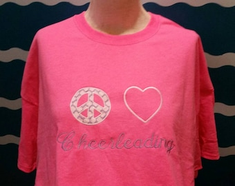 Cheerleader Shirt - Custom T-shirt - Embroidered cheer shirt - Peace Love Cheerleading - Cheerleading Gift - Embroidery Custom Shirt