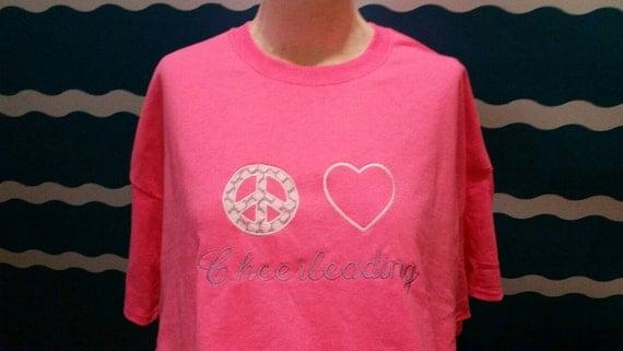 cheerleader tshirt - peace love cheerleading - custom embroidered cheerleader t-shirt - embroidered cheer tshirt - custom cheer tshirt