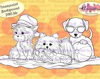 PNG Digital Stamp - Beach Puppies - Whimsical Fun Summer Animal Image - digistamp - Fantasy Line Art for Cards & Crafts by Mitzi Sato-Wiuff