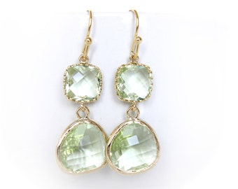 Chrysolite Earrings Double Tiered Gold and Mint Earrings Mint Wedding Jewelry Mint Green Bridesmaids Earrings Chrysolite Green Earrings