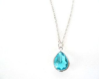 Turquoise Teardrop Necklace Blue Zircon Necklace Blue bridesmaids necklace Turquoise bridesmaids jewelry Teal bridesmaid set