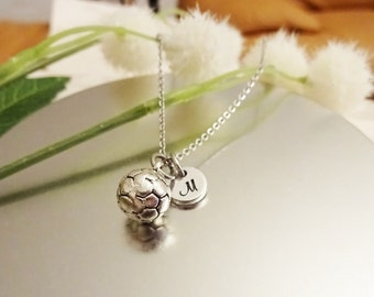 3D SOCCER BALL NECKLACE in silver tone - personalized with initial charm - choice of chains