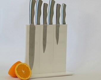 Modern White Knife Block - Magnetic