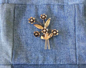 Enzell Flower Brooch, Sterling, Signed, Vintage 1960s, Fashion Jewelry, Boho Chic, Gift For Her
