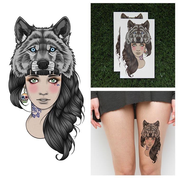 Wolf Headdress Tattoo: Tattify Wolf Headdress Temporary Tattoo Leader Of The Pack