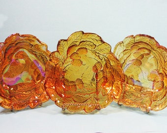 Carnival Glass, Marigold leaves and berries, set of three triangular bowls, Vintage Retro 70's