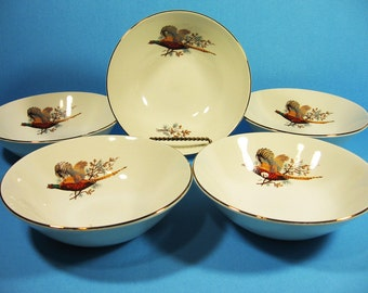 Set of 5 J & G Meakin England Bowls, Flying Pheasant, autumn colors, for salad or dessert