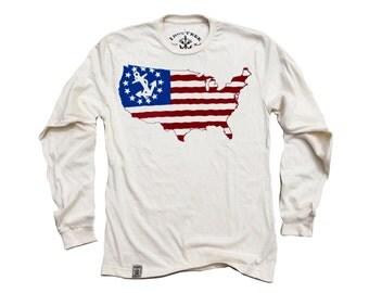 USA Yacht Ensign: Organic Fine Jersey Long Sleeve T-Shirt