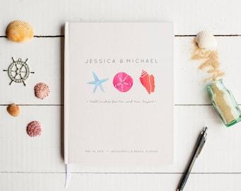 Beach Wedding Guest Book Wedding Guestbook Custom Guest Book Personalized Customized custom design wedding gift keepsake watercolor seashell