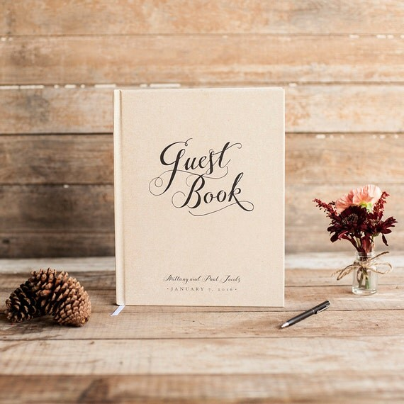 Kraft Wedding Guest Book Wedding Guestbook Custom Guest Book Personalized Custom rustic wedding keepsake wedding gift classic rustic book