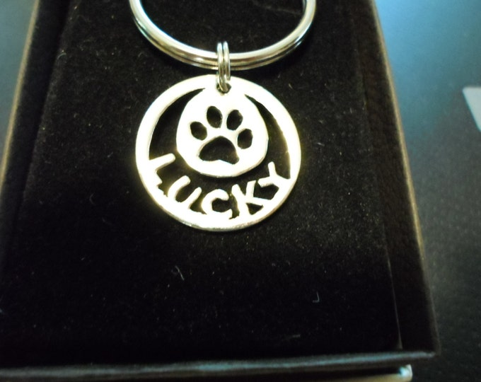 any name quarter key ring or dog tag