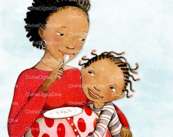 Expecting Mother & Child | African American Women of Color | Clipart Instant Download