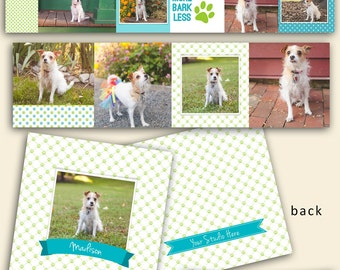 Blue Green Pawprint Dog Accordion Mini Book - Photographers - Accordion Template - Pet Photography - Photoshop Template