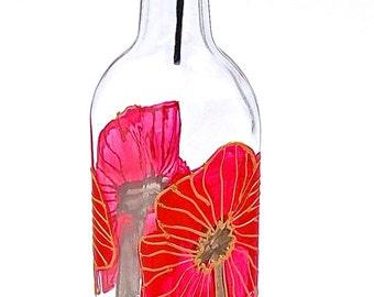 Red Poppy Oil Bottle, Hand Painted Glass