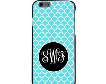 Hard Snap-On Case for Apple 5 5S SE 6 6S 7 Plus - CUSTOM Monogram - Any Colors - Blue White Black Moroccan Lattice