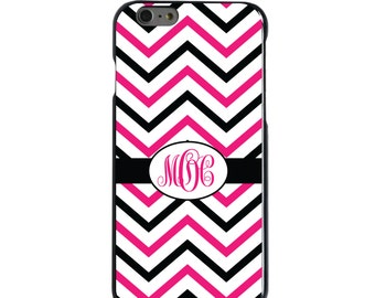 Hard Snap-On Case for Apple 5 5S SE 6 6S 7 Plus - CUSTOM Monogram - Any Colors - Black Hot Pink White Chevron Stripes