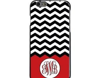 Hard Snap-On Case for Apple 5 5S SE 6 6S 7 Plus - CUSTOM Monogram - Any Colors - Black White Chevron Red Initials