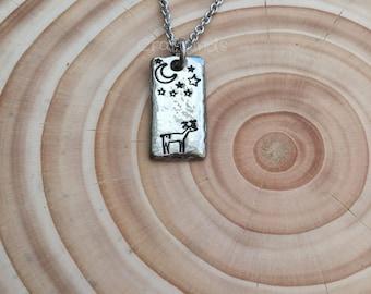 Hand Stamped pewter Deer at night necklace, stag, organic shape, deer, doe, stars, moon, night, pendant, cute, buck