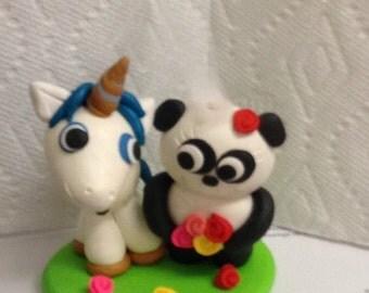 Wedding cake topper bride and groom unicorn and panda