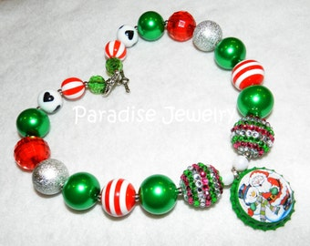 Christmas Santa Snowman Bottle Cap Necklace, Bubblegum Beads, Chunky Bead, Girls Holiday Necklace, Red Green, St Nick Necklace