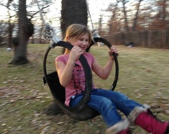 Child's Tire swing repurposed materials with hanging kit