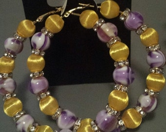 Basketball wives inspired purple and yellow hoop earring