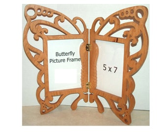 Picture Frame 5x7, Butterfly Unique Frame, Wall Hanging Frame, Wedding Gift, Butterfly Art, Whimsical, Swirls, Butterfly Decor, Wood Frame