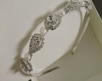 Bridal pearl & rhinestone headband