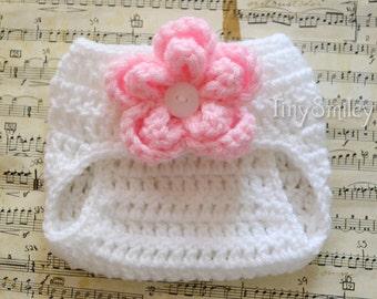 White Baby Diaper Cover, Crochet Flower Baby Diaper Cover, Baby Girl Diaper Cover, Baby Outfit, Crochet Baby Diaper Cover, Baby Clothes