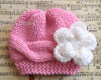 Newborn Girl Hat, Knit Baby Hat, Pink Cable Baby Hat, Newborn Knit Hat, Flower Pink Girl Hat, Baby Girl Beanie, Winter Baby Girl Hat