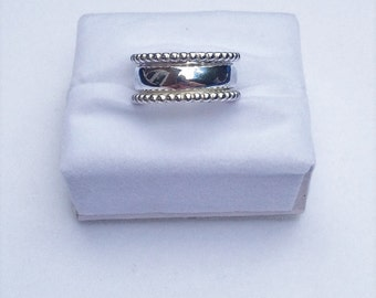 Heavy Silver Ring. Beaded Sterling Silver ring.