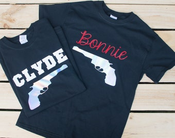 Bonnie and Clyde, Matching Couple Shirts, Wifey Hubby Shirts, Couples T-Shirts, His and Her Shirts, Wedding Gift, Matching T Shirts