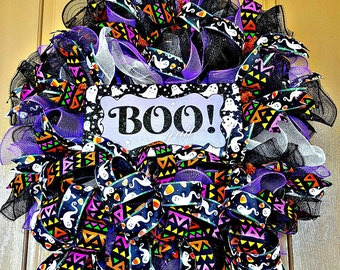 Halloween, Orange Purple Yellow Black & White Ribbons, Ghosts, Bows, Candy Corn, Boo Y'all Sign