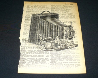 Antique Accordian Camera Dictionary Art Print Home Decor Gallery Wall Vintage Book Page Art