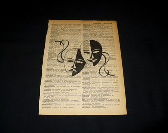 Theatre Masks Dictionary Art Print Home Decor Gallery Wall Vintage Book Page Art Theater Commedy Tragedy Acting