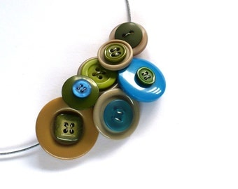 BUTTON Necklace Eco-design Upcycled Blue Green Beige Statement Jewelry