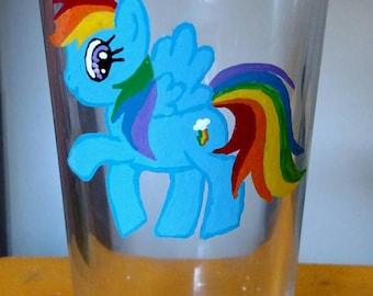 Hand Painted Rainbow Dash- MLP Pint Glass