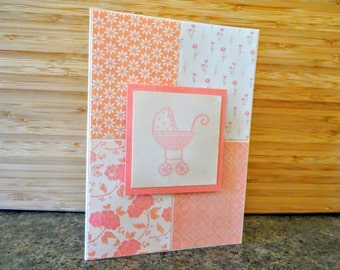 Pink baby girl card for baby shower or new baby gift